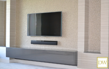 Hi-gloss acrylic 'Floating' bespoke TV/Media units in pewter.