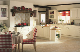 For a light and fresh country farmhouse kitchen this alabaster kitchen could fit the brief.