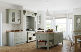 A fresh  timeless design - simple, stylish and with a touch of elegance - this windsor  in-frame kitchen painted green suits both period country and town style homes.