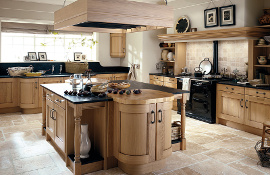 This  knotty light oak kitchen has a rustic yet classic  look.