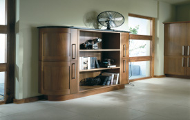 An area of open storage - such as this dresser - creates a strong focal point in a room. This piece in a rich walnut finish with its fabulous curved doors is extremely versatile as it would look super in any area of an open-plan kitchen/dining room... even the lounge!