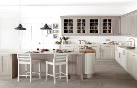 Create a modern kitchen as individual as you... by mixing muted colours. Shown here in jute and putty.