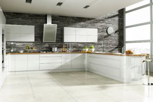 True contemporary  design - this, always popular, bright white, high gloss laquered  kitchen has no obtrusive handles, no awkward corners and no clumsy after thoughts - pure sheer fluid form.
