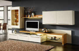 Modern lounge furniture made to any size. Shown here in cream, with complimentary oak  shelving and glass door and shelf.